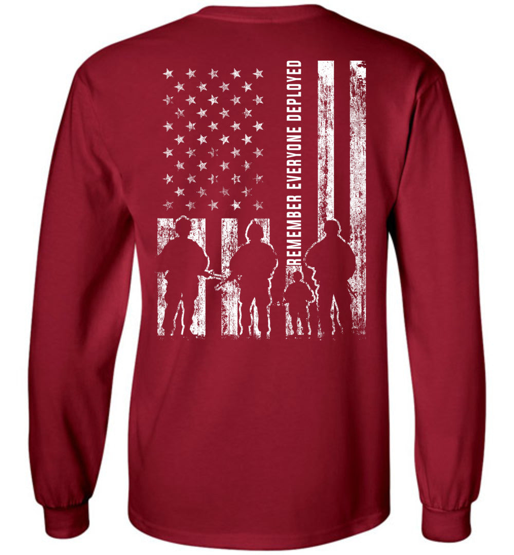 Remember Everyone Deployed RED Long Sleeve T-Shirt in Cardinal Red