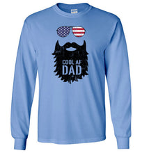 Load image into Gallery viewer, Cool AF Dad Beard Long Sleeve T-Shirt in Carolina Blue