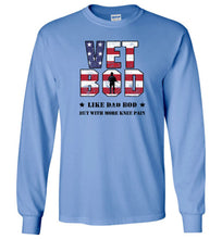 Load image into Gallery viewer, Knee Pain Vet Bod Long Sleeve T-Shirt in Carolina Blue