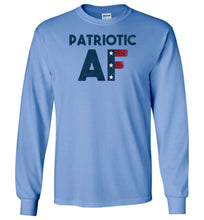 Load image into Gallery viewer, Patriotic AF Long Sleeve T-Shirt in Carolina Blue