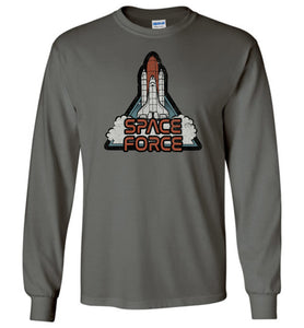 Retro Rocket: Space Force Long Sleeve T-Shirt in Charcoal