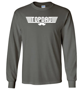 Top Dad Long Sleeve T-Shirt in Charcoal