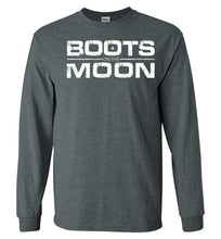 Load image into Gallery viewer, Boots on the Moon Distressed Long Sleeve T-Shirt in Dark Heather