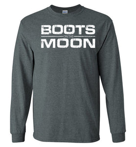 Boots on the Moon Distressed Long Sleeve T-Shirt in Dark Heather