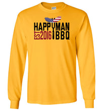 Load image into Gallery viewer, Patriotic HappyMan BBQ Long Sleeve T-Shirt in Gold