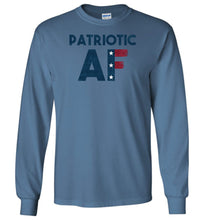 Load image into Gallery viewer, Patriotic AF Long Sleeve T-Shirt in Indigo Blue