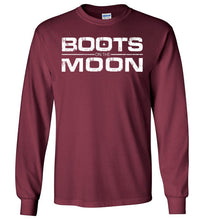 Load image into Gallery viewer, Boots on the Moon Distressed Long Sleeve T-Shirt in Maroon
