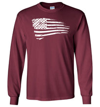Load image into Gallery viewer, Distressed US Flag Long Sleeve T-Shirt in Maroon