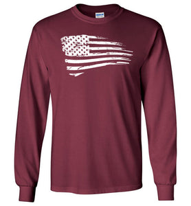 Distressed US Flag Long Sleeve T-Shirt in Maroon