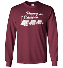 Load image into Gallery viewer, Happy Camper Long Sleeve T-Shirt in Maroon