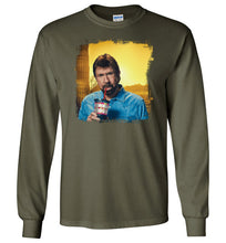 Load image into Gallery viewer, Chuck Norris Drinking Coronavirus Long Sleeve T-Shirt in Military Green