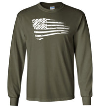 Load image into Gallery viewer, Distressed US Flag Long Sleeve T-Shirt in Military Green