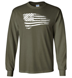 Distressed US Flag Long Sleeve T-Shirt in Military Green