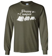 Load image into Gallery viewer, Happy Camper Long Sleeve T-Shirt in Military Green