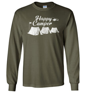 Happy Camper Long Sleeve T-Shirt in Military Green