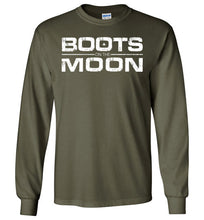 Load image into Gallery viewer, Boots on the Moon Distressed Long Sleeve T-Shirt in Military Green
