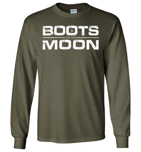 Boots on the Moon Distressed Long Sleeve T-Shirt in Military Green