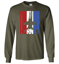 Load image into Gallery viewer, Red White and Blue F-18 Hornet Long Sleeve T-Shirt in Military Green