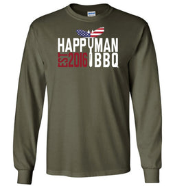 Patriotic HappyMan BBQ Long Sleeve T-Shirt in Military Green