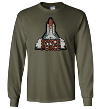 Load image into Gallery viewer, Retro Rocket: Space Force Long Sleeve T-Shirt in Military Green