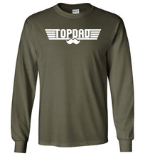 Load image into Gallery viewer, Top Dad Long Sleeve T-Shirt in Military Green