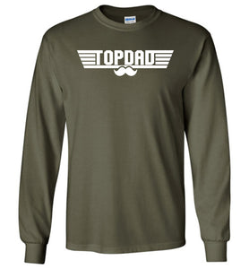 Top Dad Long Sleeve T-Shirt in Military Green