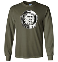Load image into Gallery viewer, Trump Space Helmet Long Sleeve T-Shirt in Military Green