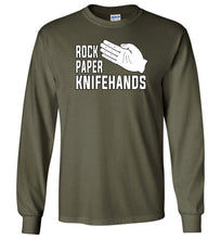 Load image into Gallery viewer, Rock Paper Knifehands Long Sleeve T-Shirt in Military Green