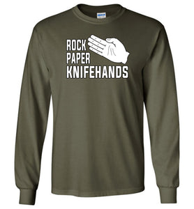 Rock Paper Knifehands Long Sleeve T-Shirt in Military Green