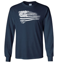 Load image into Gallery viewer, Distressed US Flag Long Sleeve T-Shirt in Navy