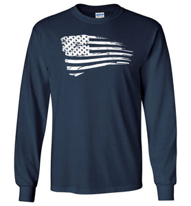 Distressed US Flag Long Sleeve T-Shirt in Navy