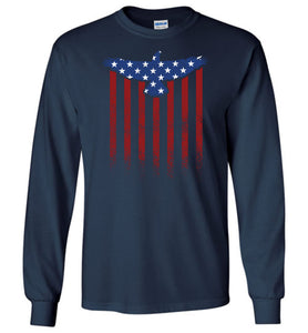 Star Spangled Eagle Flag Long Sleeve T-Shirt in Navy