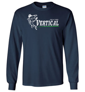 Vertical Jigs and Lures Logo Long Sleeve T-Shirt in Navy