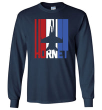 Load image into Gallery viewer, Red White and Blue F-18 Hornet Long Sleeve T-Shirt in Navy
