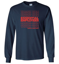 Load image into Gallery viewer, Thank You Essential Employees Long Sleeve T-Shirt in Navy