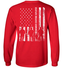 Load image into Gallery viewer, Remember Everyone Deployed RED Long Sleeve T-Shirt in Red