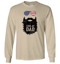 Load image into Gallery viewer, Cool AF Dad Beard Long Sleeve T-Shirt in Sand