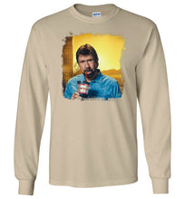 Load image into Gallery viewer, Chuck Norris Drinking Coronavirus Long Sleeve T-Shirt in Sand
