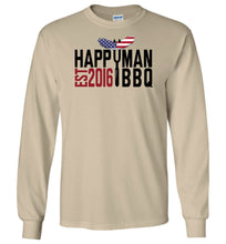 Load image into Gallery viewer, Patriotic HappyMan BBQ Long Sleeve T-Shirt in Sand