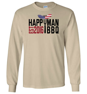 Patriotic HappyMan BBQ Long Sleeve T-Shirt in Sand