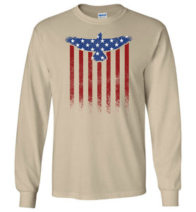 Star Spangled Eagle Flag Long Sleeve T-Shirt in Sand