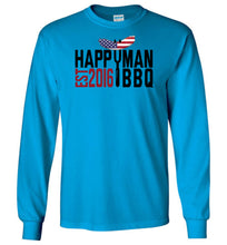Load image into Gallery viewer, Patriotic HappyMan BBQ Long Sleeve T-Shirt in Sapphire