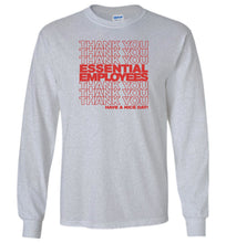 Load image into Gallery viewer, Thank You Essential Employees Long Sleeve T-Shirt in Sports Gray