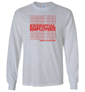 Thank You Essential Employees Long Sleeve T-Shirt in Sports Gray