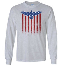 Load image into Gallery viewer, Star Spangled Eagle Flag Long Sleeve T-Shirt in Sports Grey