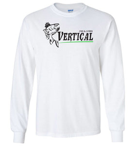 Vertical Jigs and Lures Logo Long Sleeve T-Shirt in White