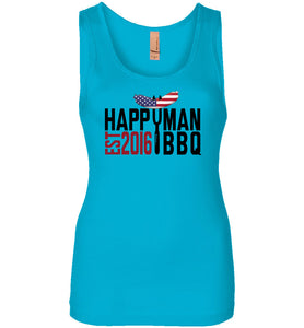 Patriotic HappyMan BBQ Women's Tank in Turquoise