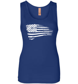 Distressed US Flag Women's Tank in Royal Blue
