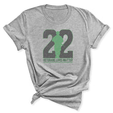 Load image into Gallery viewer, Twenty-Two Lives Matter Women's T-Shirt in Athletic Heather