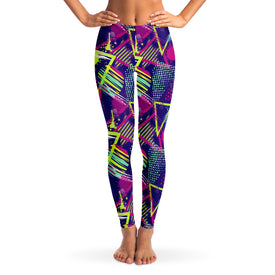 90's Retro Oldschool Women's Leggings Front Model